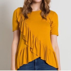 Tops - CLAIRE Mustard Yellow ruffle top